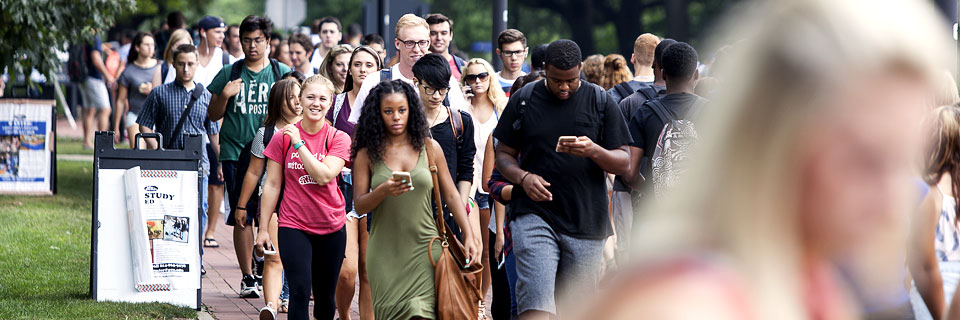 Students walking to class - Fall 2015