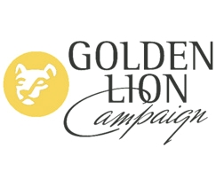Yellow circle with white nittany lion graphic next to the words 'Golden Lion Campaign.'