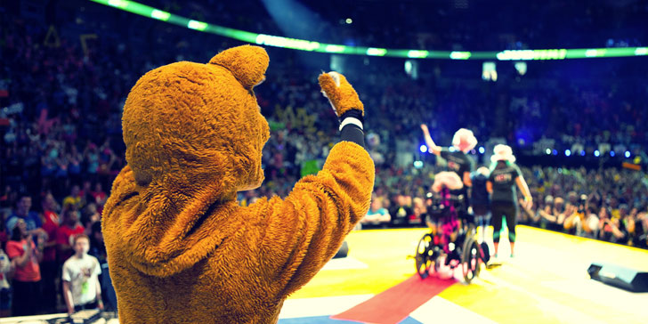 Image of Penn State Nittany Lion during THON event at the Bryce Jordan Center